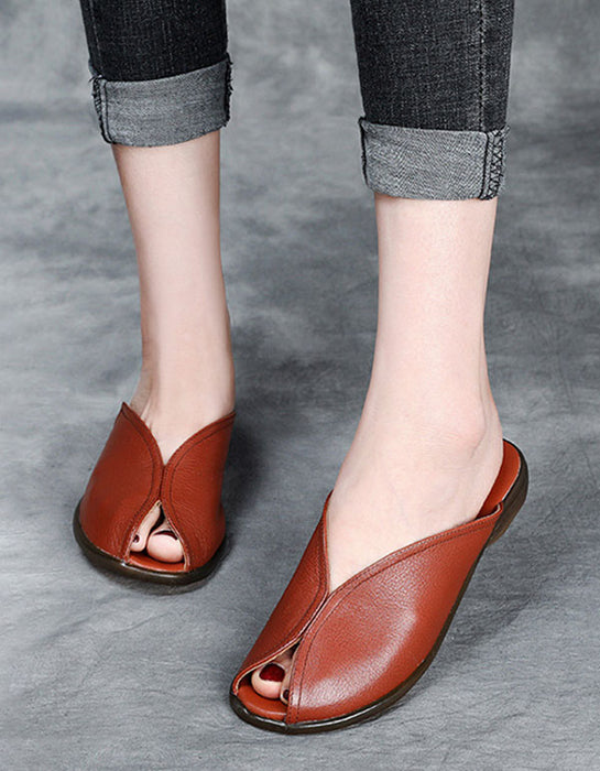 Summer Leather Handmade Casual Leather Slippers