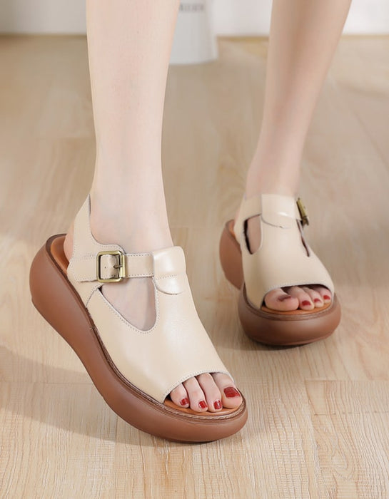 Summer Leather Open Toe Wedge Sandals