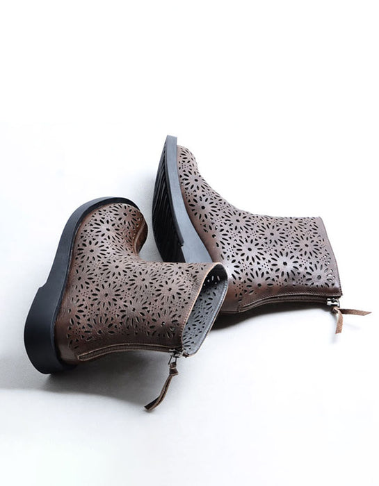 Summer Leather Vintage Hollow Summer Boots
