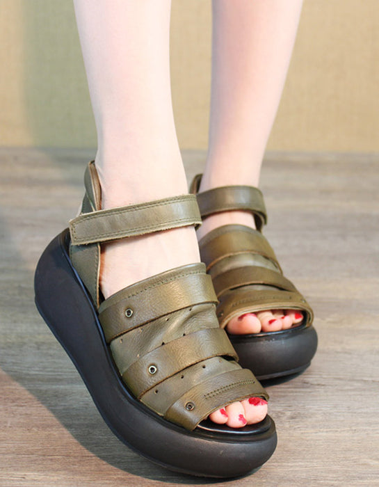 Summer Retro Leather Platform Sandals