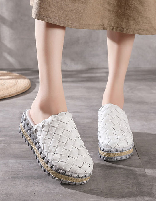 Summer Retro Leather Woven High-Heeled Slippers