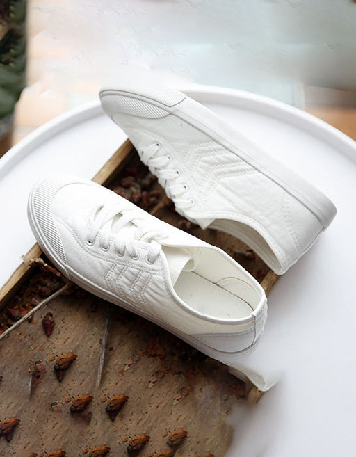 Summer Spring Canvas Walking Casual Shoes White