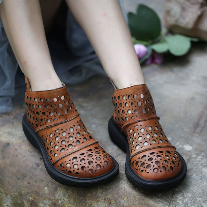 Handmade Summer Hollow Sandals Boots Black