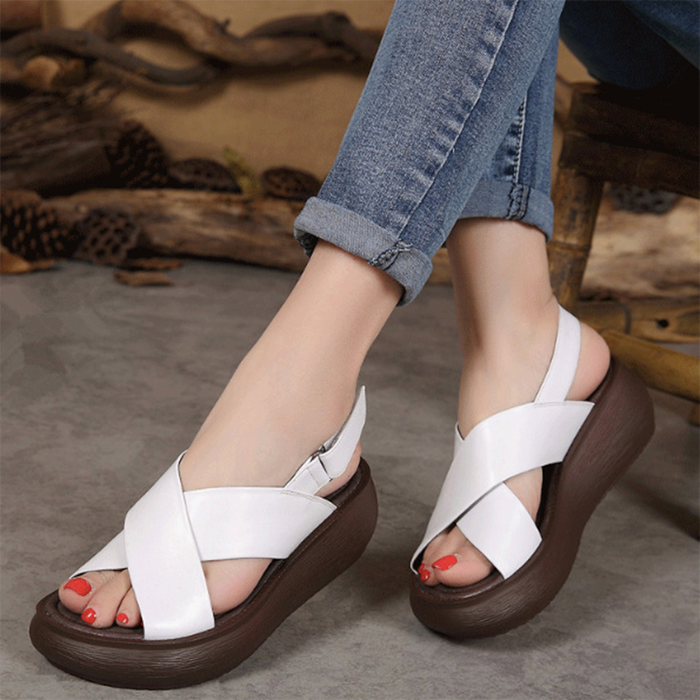 Summer Fish-Toed Velcro Wedge Sandals 35-42 | Gift Shoes