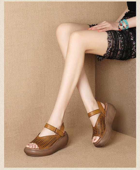 Vintage Wedge  Summer Leather Sandals