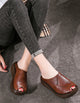 Wedge Fish Toe Summer Retro Leather Slippers