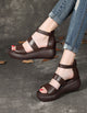 Wedge Heel Summer Leather Sandals Black