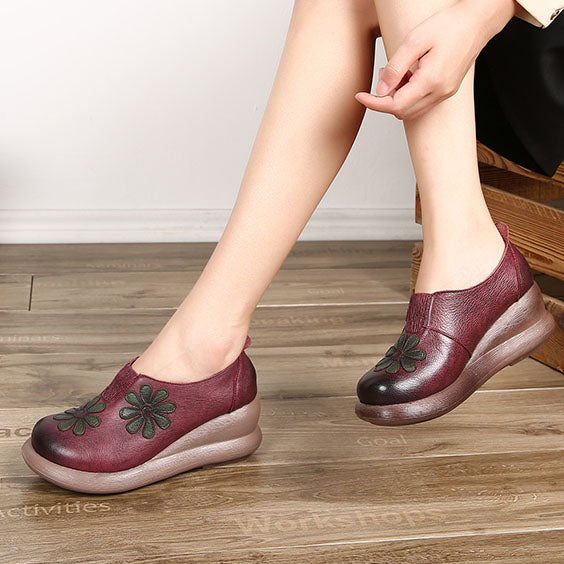 Wedge Handmade Women Retro shoes| Gift Shoes