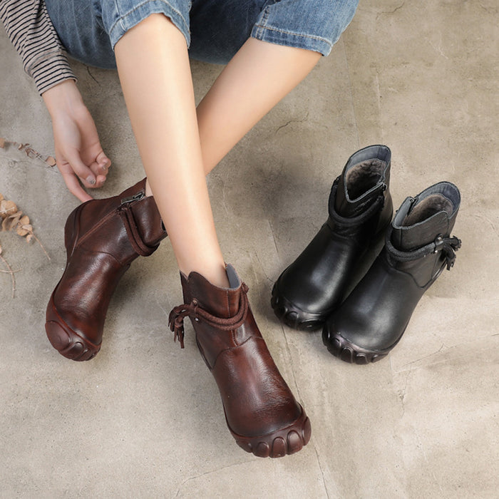 Winter Handmade Leather Soft Bottom Retro Ankle Boots | Gift Shoes