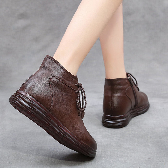 Winter Leather Casual Soft Bottom Women's Short Boots | Gift Shoes