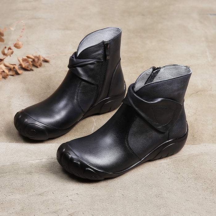 Winter Retro Handmade Leather Short Boots | Gift Shoes