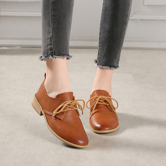 Winter Retro Leather Flat Shoes | Gift Shoes