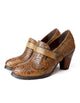 Women Retro Ethnic Shoes Handmade Chunky Heels