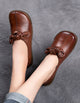 Women Retro Leather Shoes Cow Tendon Flats