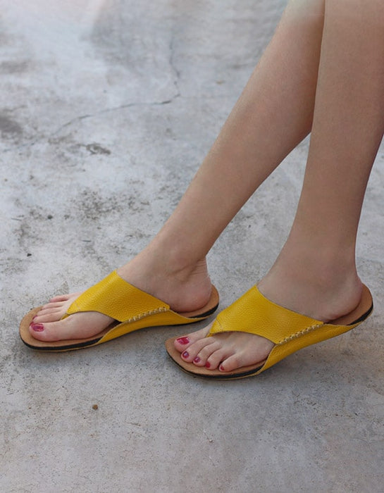 Women's summer Leather Flip-flops Slippers