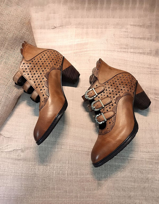 Pointed-Toe Handmade Ethnic Leather Boots