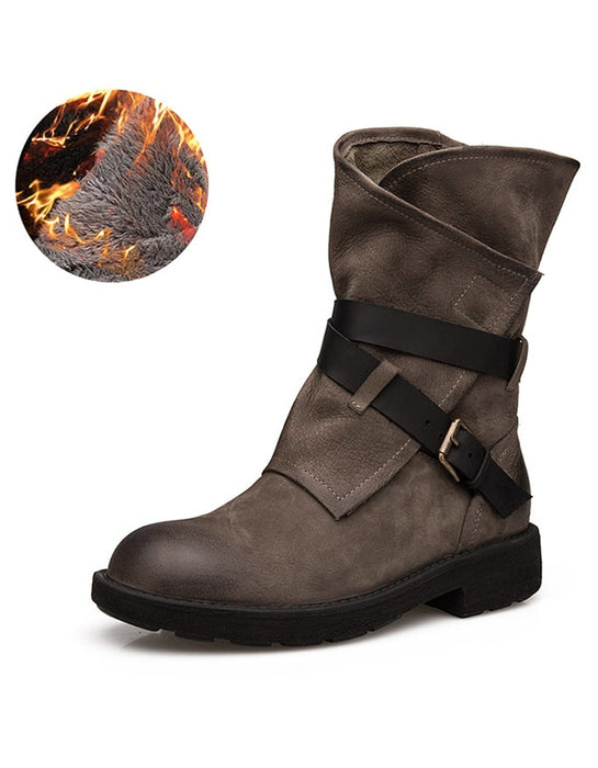 Retro Leather Mid-tube Motorcycle Belt Buckle Boots
