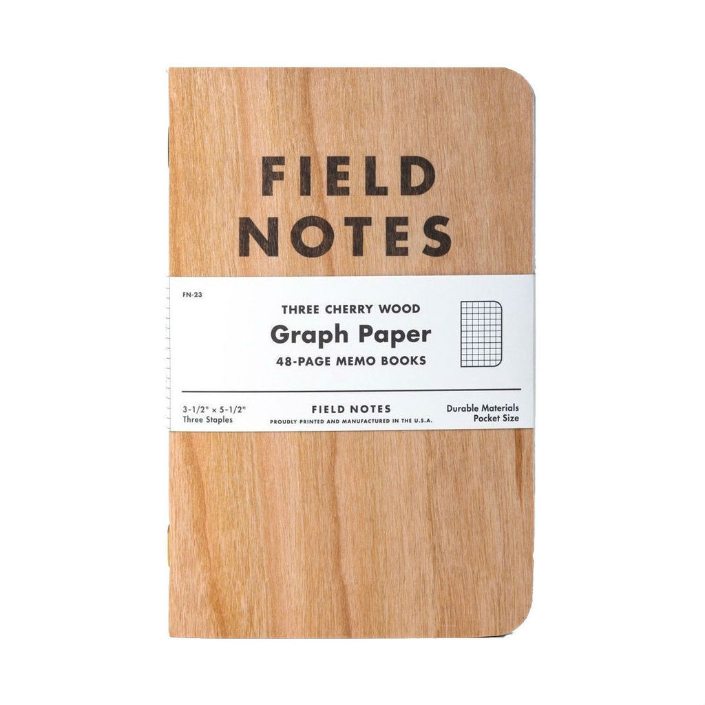 Field Notes Cherry Wood Graph Memo Book 3-Pack | Made in America