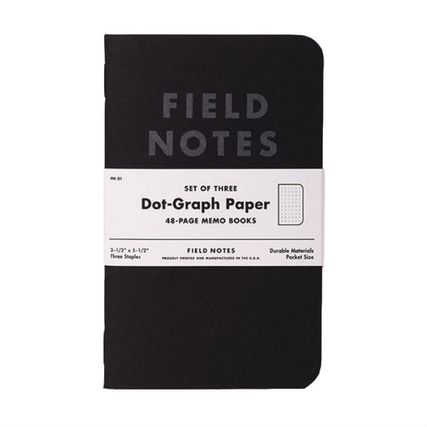 Field Notes Pitch Black Graph 3-Pack, Made in USA