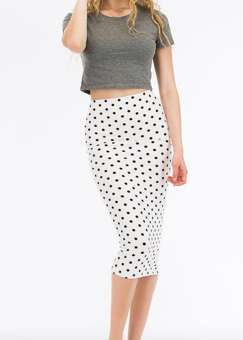 White/Black Polka Dot Skirt