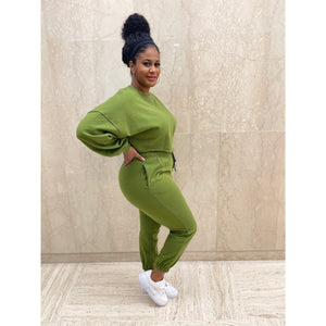 """Keep it Cute"" Jogger Set (Green)"