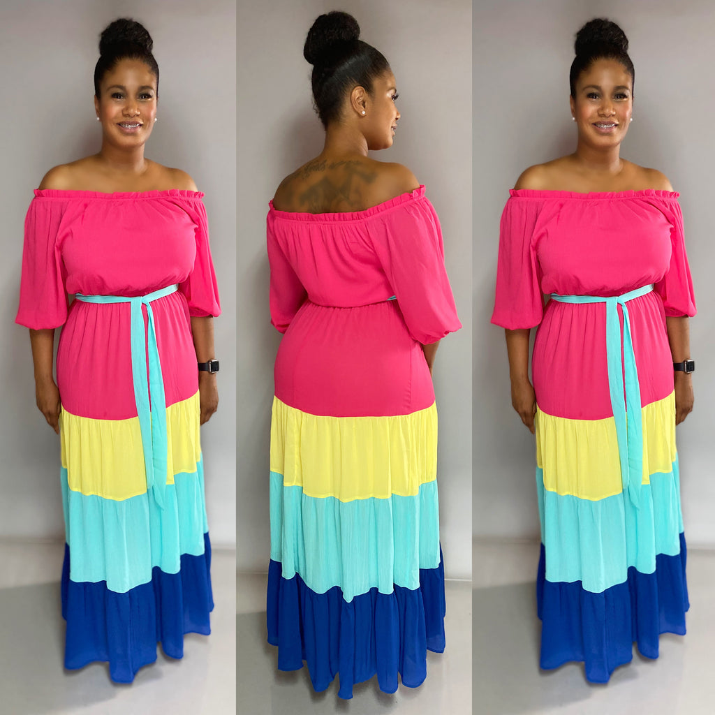 Blocked Maxi Dress