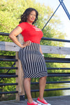Stretchy Striped Midi Skirt