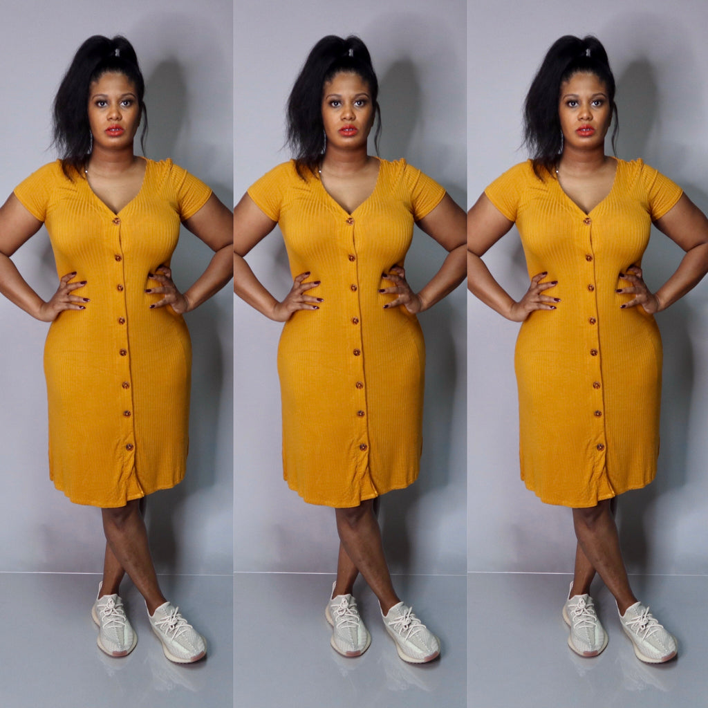 On The Run Dress (Mustard)