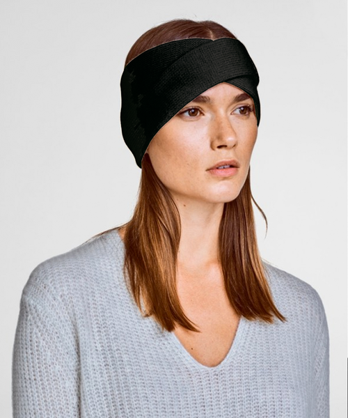 Cashmere Crossover Headband - Black