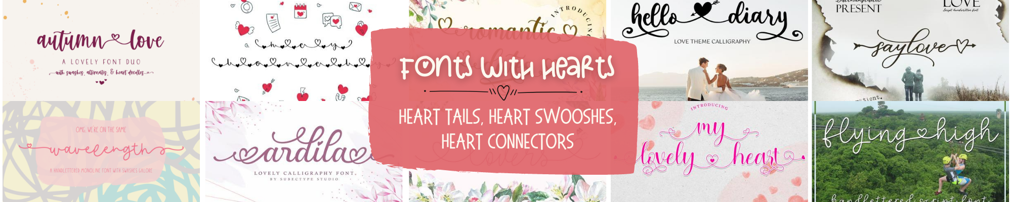 commercial use fonts with heart tails hearts in the middle