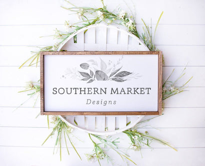 12x24 Wood Framed Neutral Spring Mock Up Stock Photo Mock Up Photo Southern Market Designs
