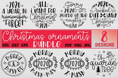 2020 Christmas Ornaments SVG Bundle files for cutting machines Cricut Silhouette SVG PNG Christmas Commemorative SVG RoseMartiniDesigns