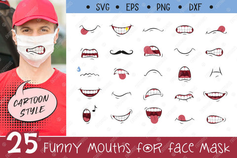 25 SVG Funny mouths for Medical Face Mask. Funny Cartoon Style. SVG Natariis Studio