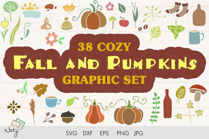 38 Cozy fall and pumpkins graphic set. SVG Arts By Naty