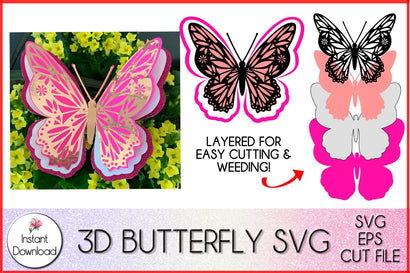 3D Butterfly SVG, Layered Butterfly Paper Craft SVG LaurelMagnoliaDesign