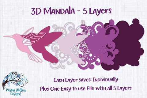 3D Hummingbird Mandala SVG 3D Paper Wispy Willow Designs