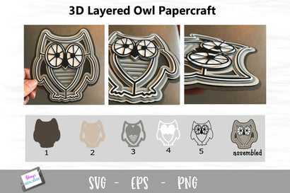 3D Layered Owl SVG Design 3D Paper Stacy's Digital Designs