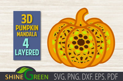 3D Layered Pumpkin Mandala SVG - Fall, Autumn 3D Paper Shine Green Art