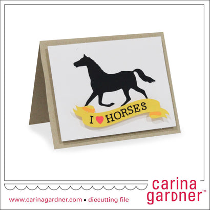 4.25 in. x 5.5 in. Horse Card SVG Carina Gardner