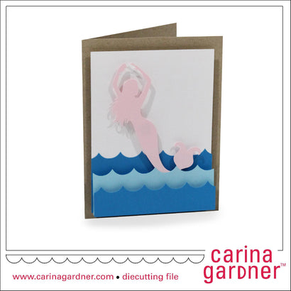 4.25 in. x 5.5 in. Mermaid Card SVG Carina Gardner