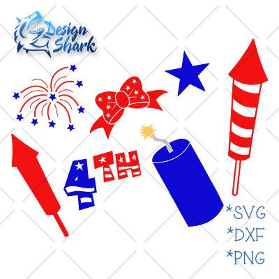 4th of July Set SVG Design Shark