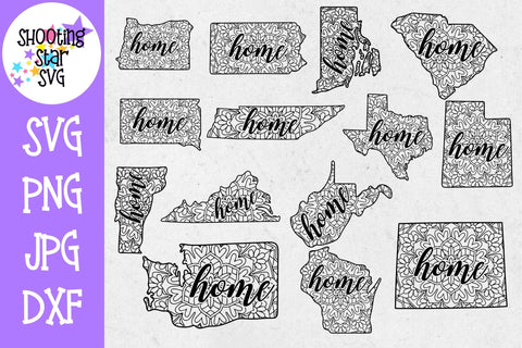 50 States Mandala with Home - United States SVG SVG ShootingStarSVG