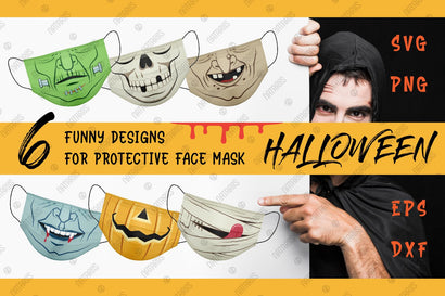 6 Funny Halloween designs for protective face mask. SVG Funny cartoon style. SVG Natariis Studio