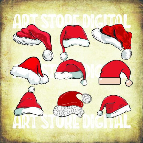 9 Styles Santa Hat Christmas Svg Png Eps Dxf Cut Files SVG Artstoredigital
