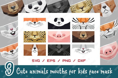 9 SVG Cute animals mouths for protective face mask. Funny cartoon style. SVG Natariis Studio