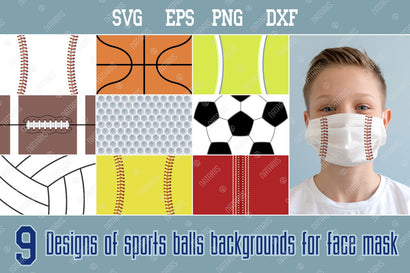 9 SVG Designs of sports balls backgrounds for protective face mask. SVG Natariis Studio