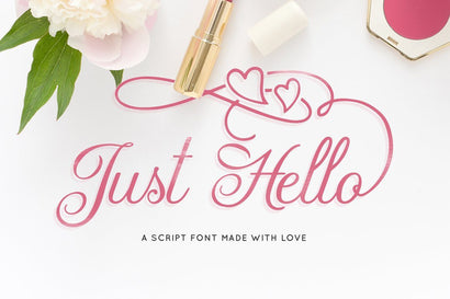 A Just Hello Script Font Maroon Baboon