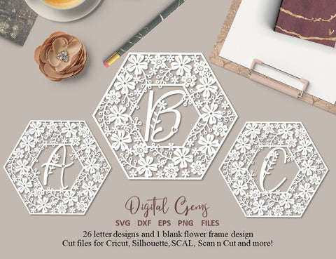 Alphabet paper cut bundle svg  dxf  eps  png files and pdf print out templates for hand cutting Digital download.