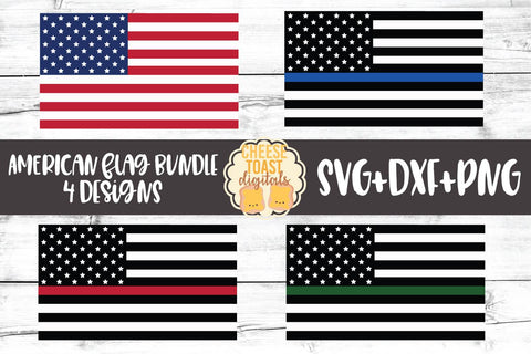 American Flag Bundle - 4th of July Patriotic SVG PNG DXF Cut Files SVG Cheese Toast Digitals