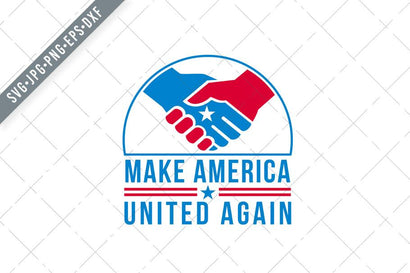 American Hands in Handshake with USA Star and Words Make America United Again Retro SVG Patrimonio Designs Limited